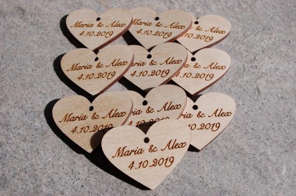 Geschenkanhänger Herz mit Gravur 10er  Pack beidseitig