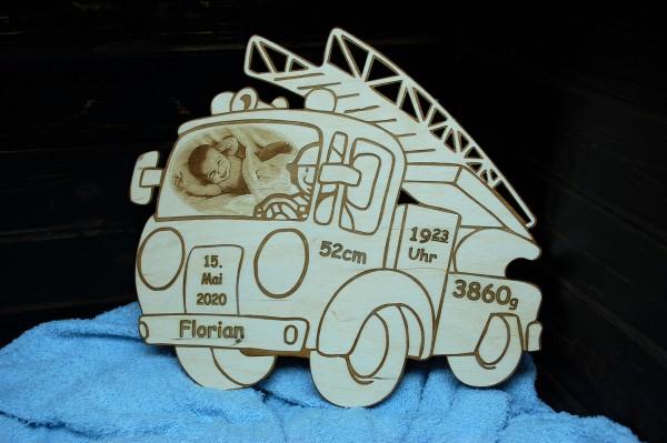 Geburtentafel Feuerwehr mit Foto Gravur