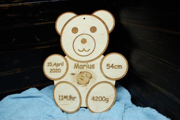 Geburtentafel Teddy mit Foto Gravur