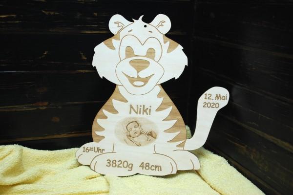 Geburtentafel Tiger mit Foto Gravur