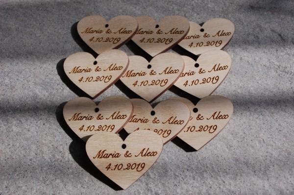 Geschenkanhänger Herz mit Gravur 10er Pack einseitig
