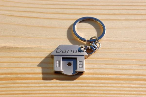 Namen Gravur Schlüsselanhänger Haus mit Einkaufschip