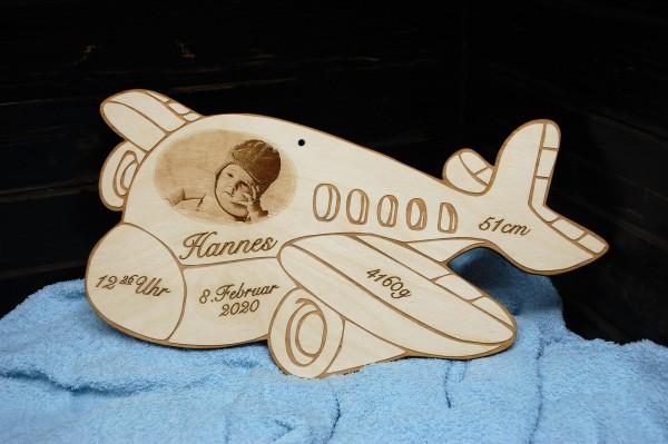 Geburtentafel Flugzeug mit Foto Gravur