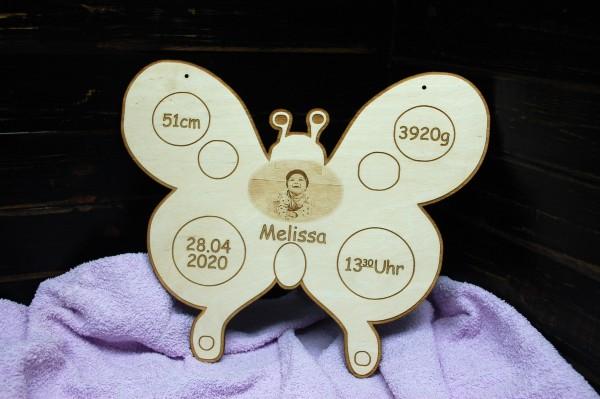 Geburtentafel Schmetterling mit Foto Gravur
