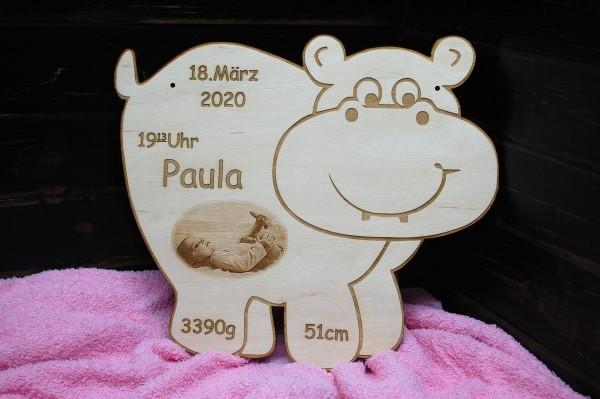 Geburtentafel Nilpferd mit Foto Gravur